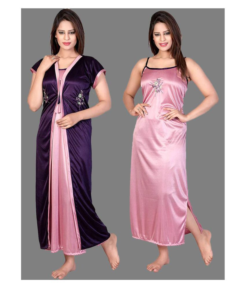 Gospel Satin Nighty & Night Gowns - Purple
