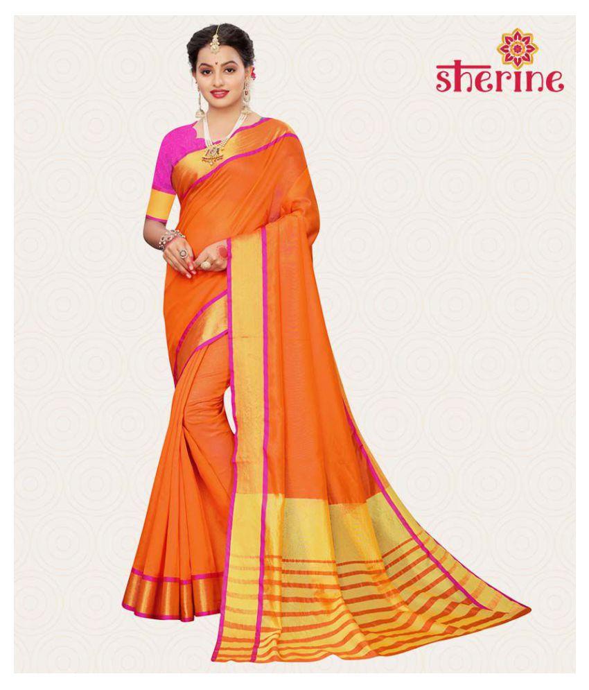 Sherine Orange Chanderi Saree