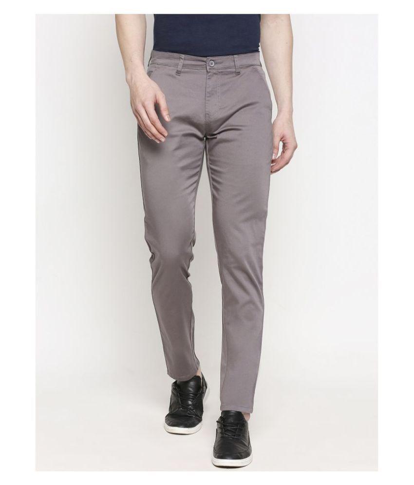 Solemio Grey Slim -Fit Flat Chinos