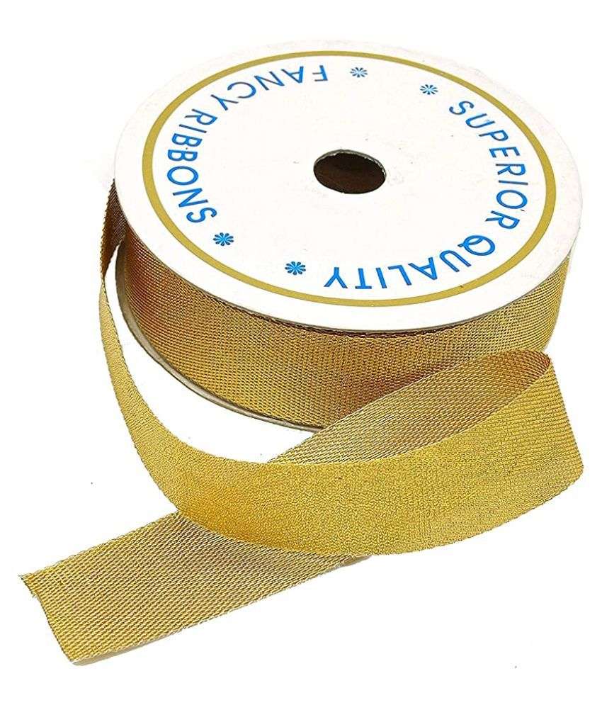 PRANSUNITA Heavy Tissue Satan Ribbon Color- Golden 25mm (1 inch) for Wedding, Party Decoration, DIY Hair Accessories, Sewing, Gift Wrapping, Invitation Embellishments Etc.
