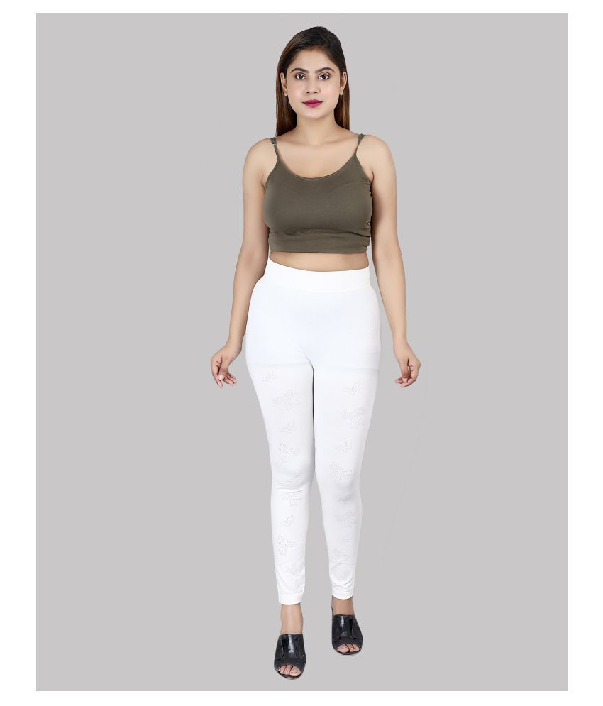 Qitty Cotton Jeggings - White