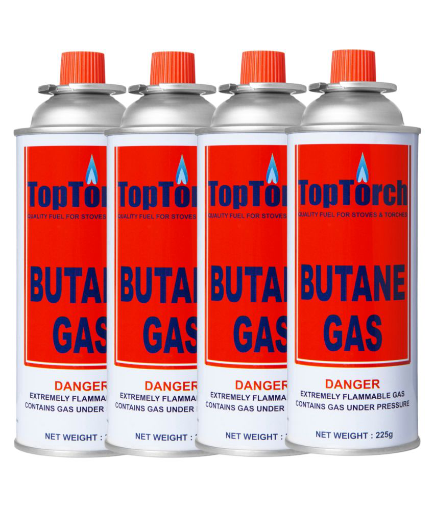 Top Torch Portable High Pressure flame Gas Canister 225g Can Easy to use Perfect Suitable to Small Stove, Flame Torch, Pack of 4