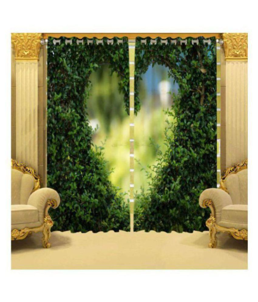 Fashion Alley Set of 2 Long Door Semi-Transparent Eyelet Polyester Curtains Green