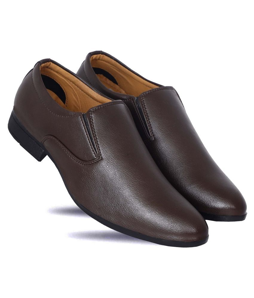 Delvin & Kabana Office Artificial Leather Brown Formal Shoes