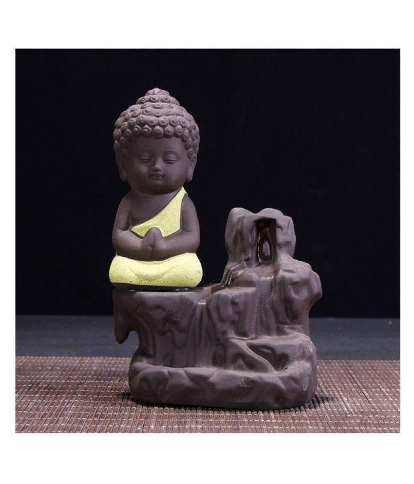 Spiritualis Mantra Yellow Resin Monk Buddha Smoke Backflow - Pack of 1