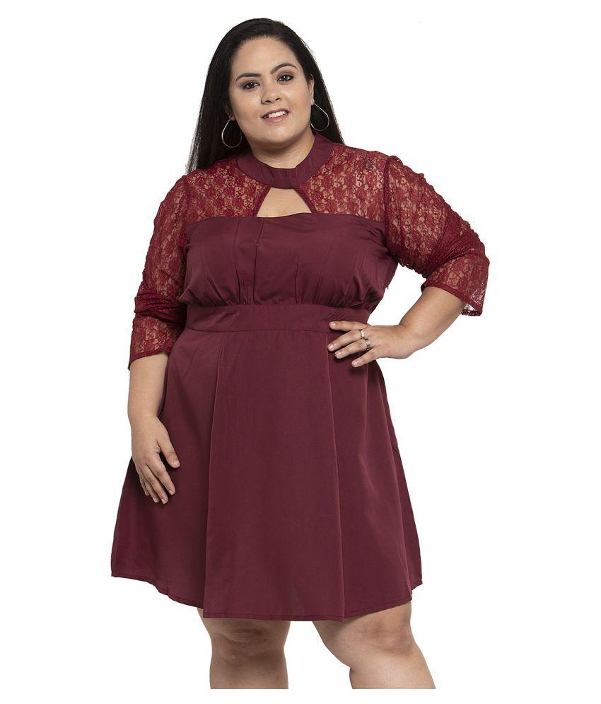 FLAMBEUR Crepe Brown Regular Dress