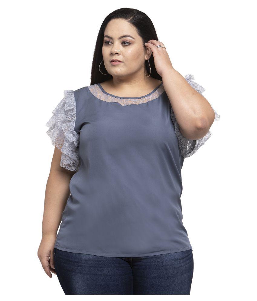 FLAMBEUR Crepe Grey Regular Dress