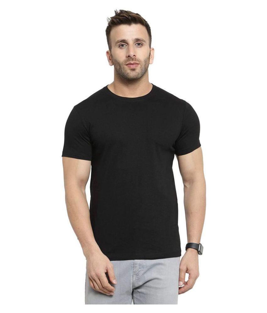 KEX Cotton Lycra Black Plain Polo T Shirt