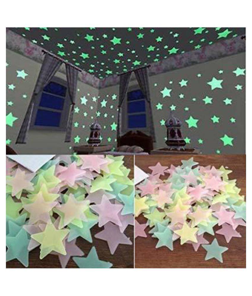 OE Night Glowing Sky Wall Sticker Radium Starry Sky Sticker ( 3 x 3 cms )