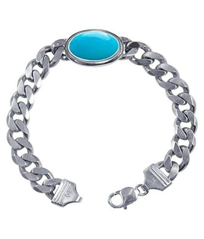 RATAN BAZAAR Salman Khan Original Turquoise (Firoza)  Silver Bracelet For Men & Women By Ratan Bazaar