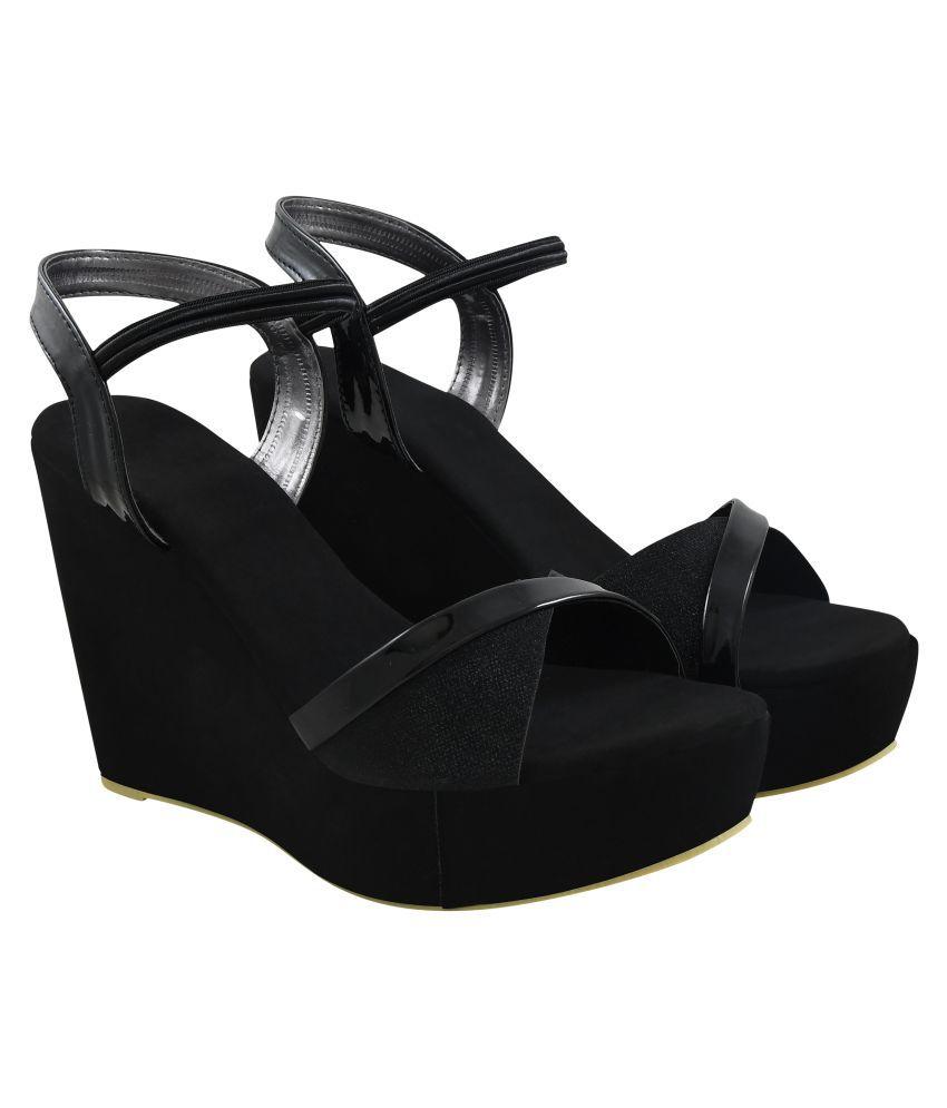Do Bhai Black Wedges Heels