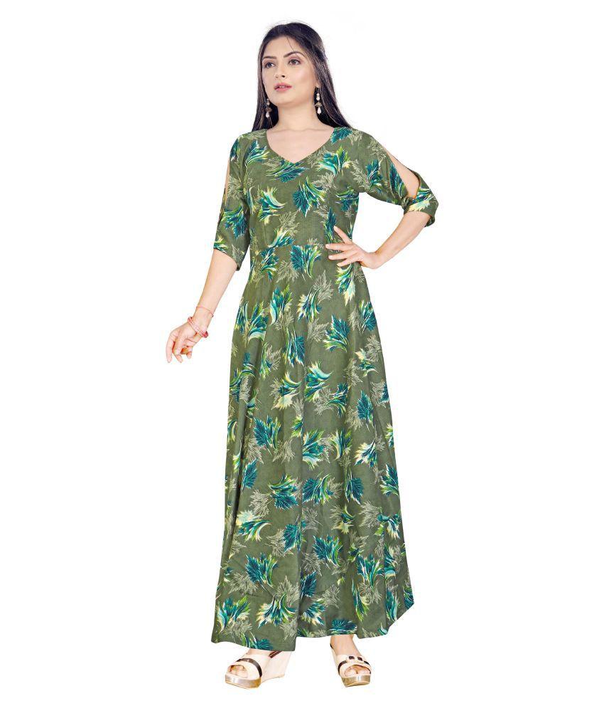 SAI TELECOM Poly Cotton Green A- line Dress