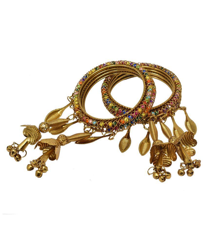 German Oxidised Golden Afghani Traditional with Latkan Ethnic Kada Tribal Antique Designer Bangle for Women and girls - Set of 4