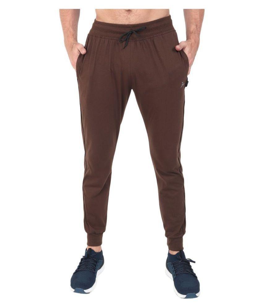 Zeffit Brown Cotton Blend Trackpants Single