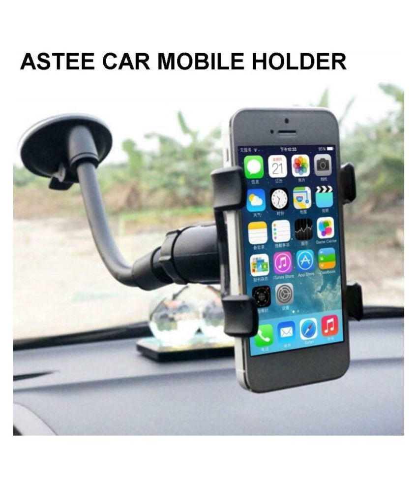 ASTEE Car Mobile Holder Double Clamp for Dashboard   Windshield   Black