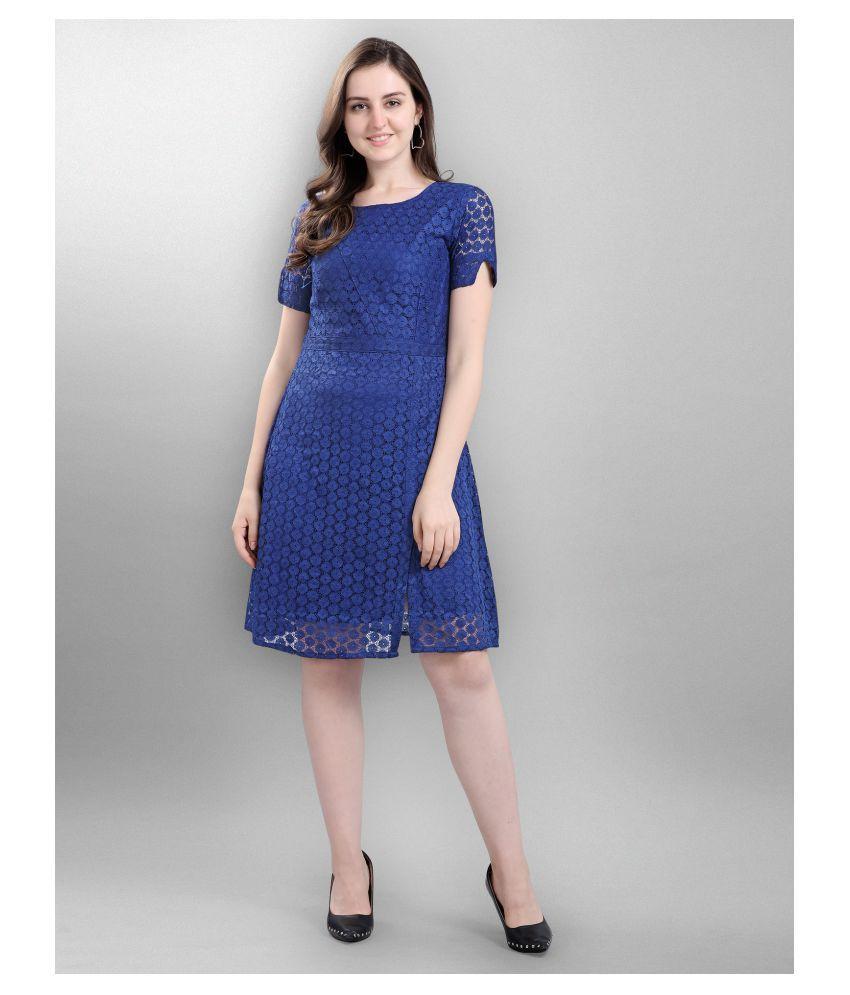 Selvia Net Blue Cut Out Dress