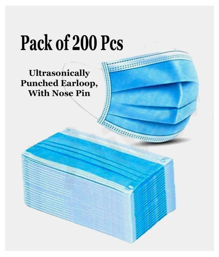 DENTAL MART With Nose Pin 3 Ply Face Mask - 200 Pcs