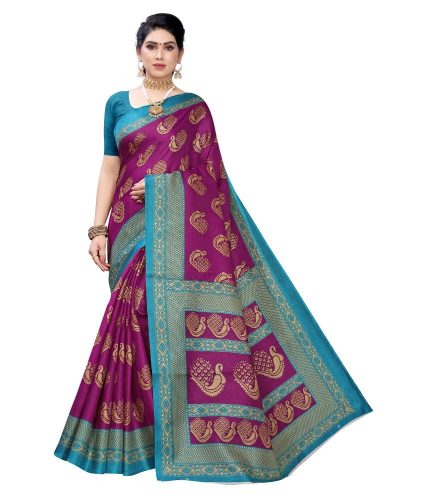 KSUT Purple Silk Blend Saree