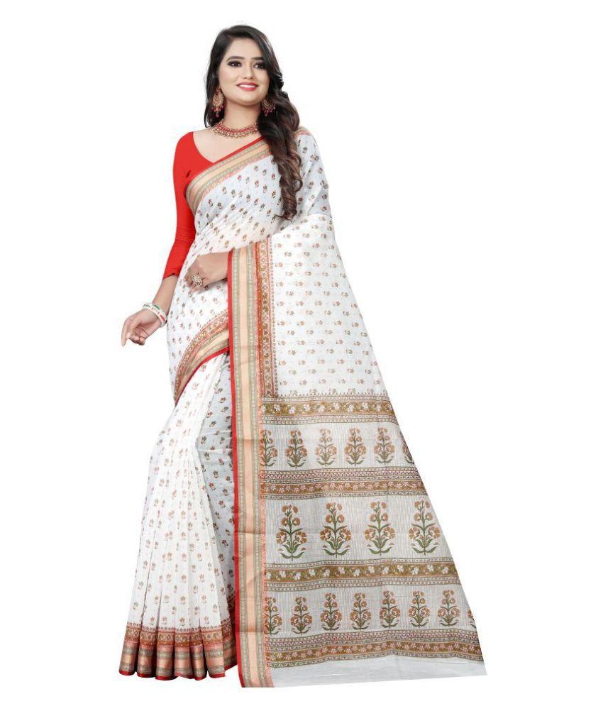 Pretty MMME White Gadwal Saree
