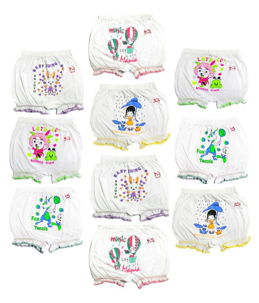 Girls and Boys White cotton printed Bloomer drawer Multi pack(pack of 10)