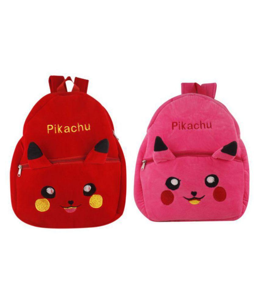 SSImpex Present Play School Bags for Kids Kindergarten and Nursery Babies School Bag (Pink, Red) Pack of 2