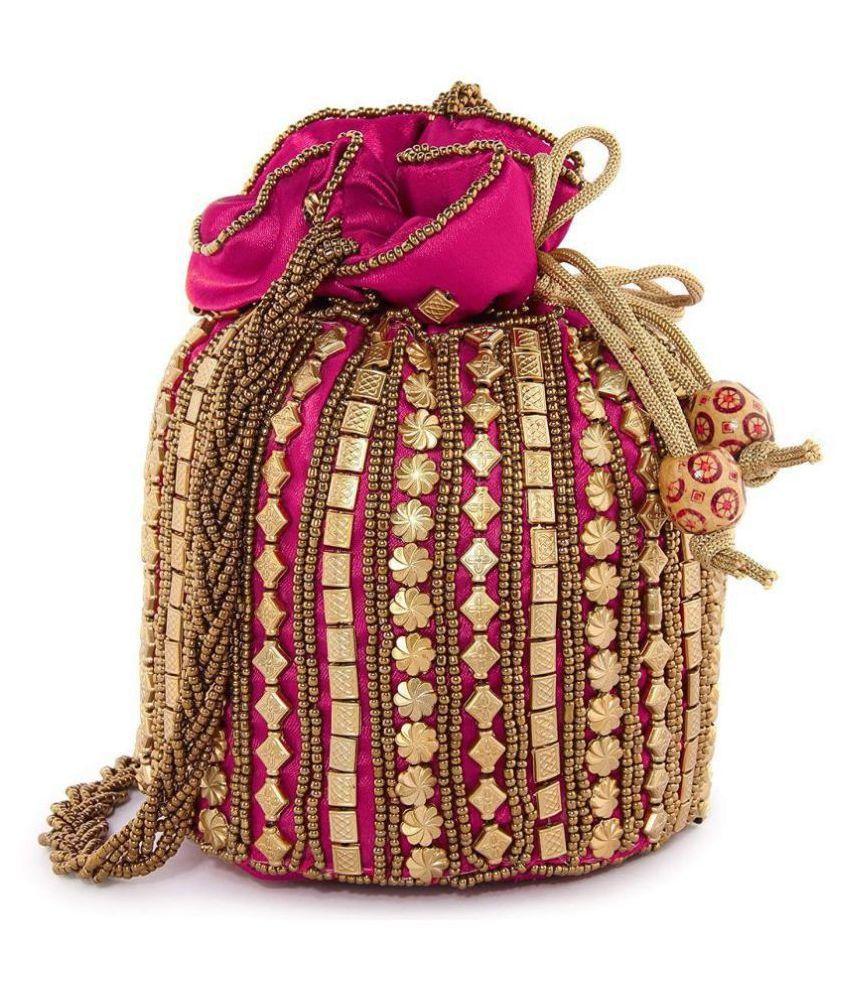 Bulbul Pink Silk Potli