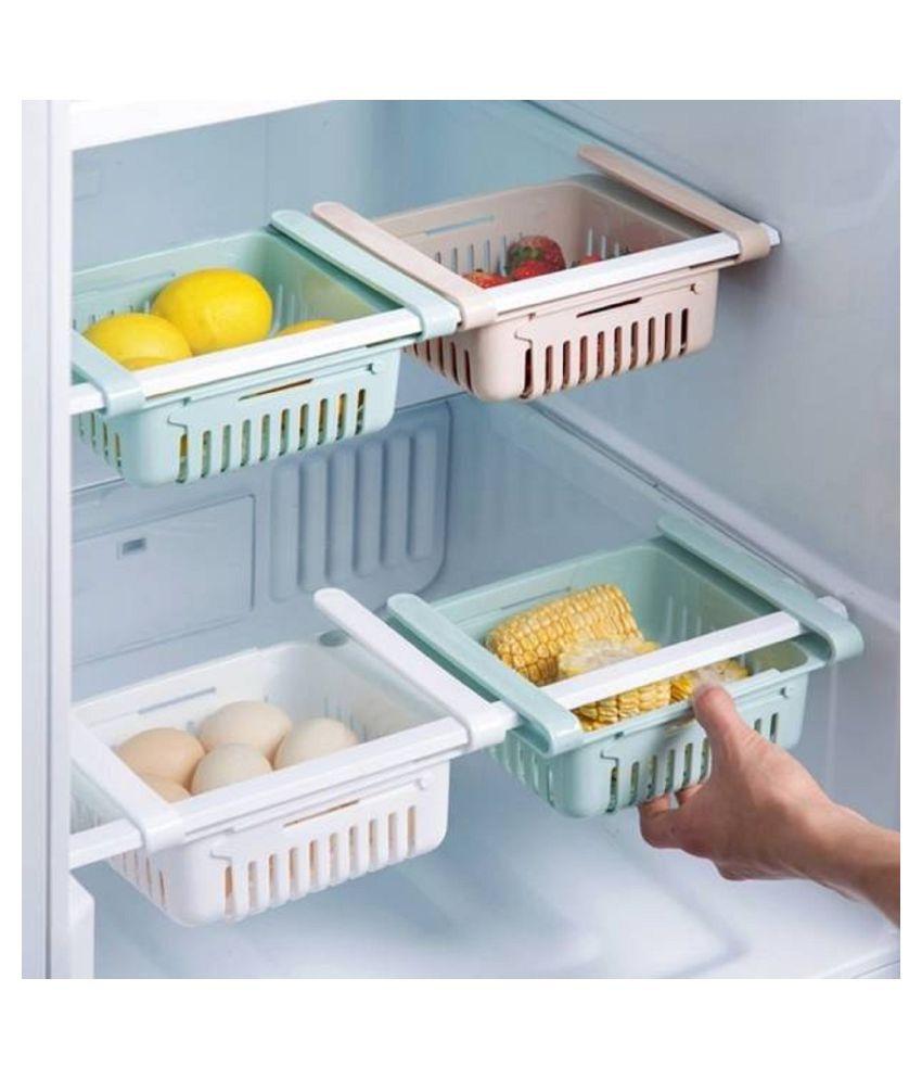 LDL New Adjustable Fridge Storage Rack Fruits/Vegetables Kitchen Rack  Plastic  PACK OF 4