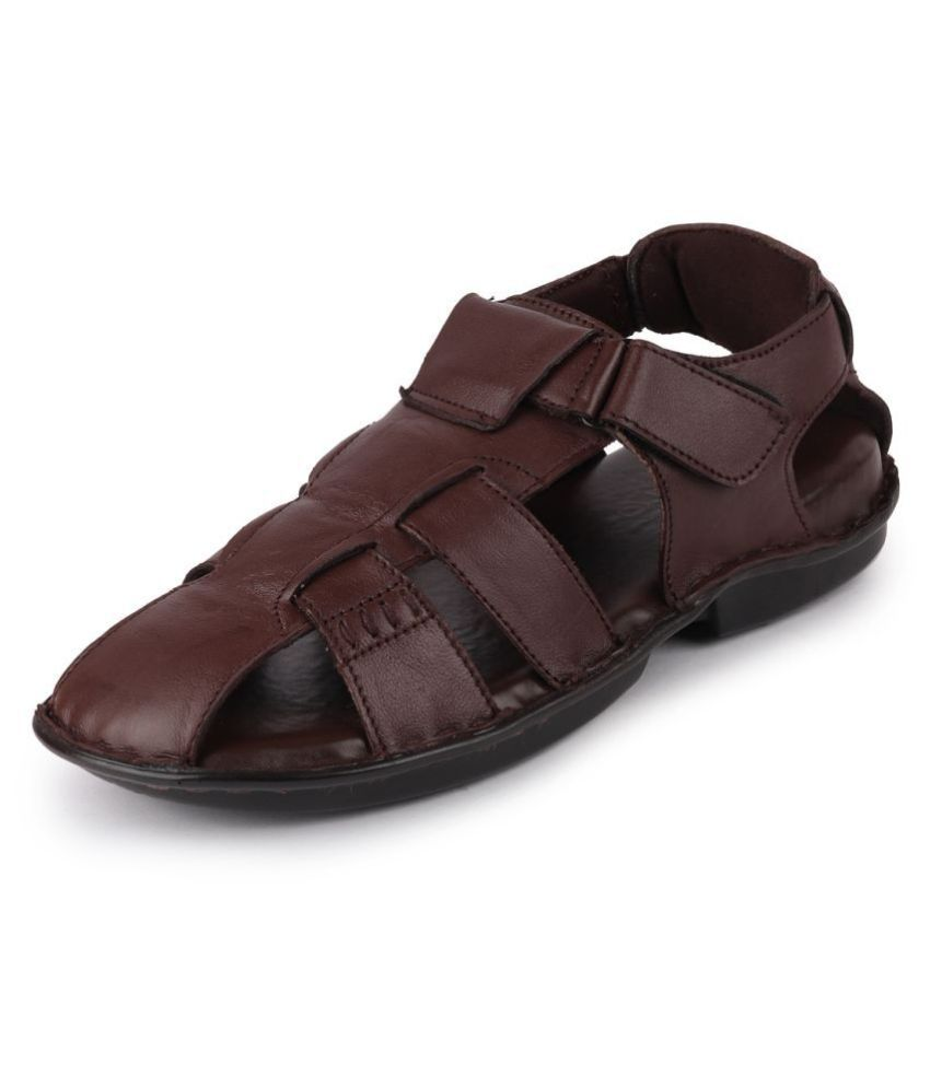 Fausto Brown Leather Sandals