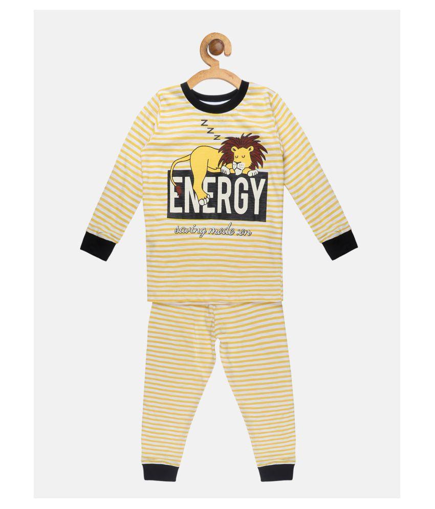 Lazy Shark Little Marine Printed Yellow Boys Nightwear set