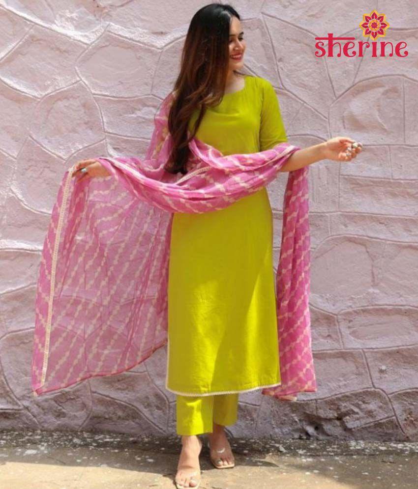 Sherine Women's Yellow Cotton Leheria Printed Kurta and Palazzos & Dupatta Set