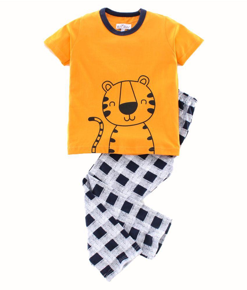 NITE FLITE Boys' Tiger Safari Cotton Nightwear   Top and Pyjama Set (Mustard & Navy Blue,10)