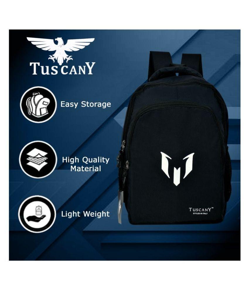 Tuscany Black Polyester College Bag/School Bag