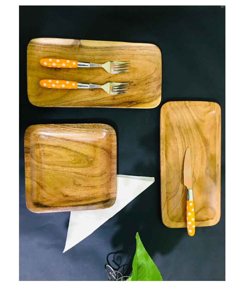 STYLOKRAFT CREATIONS 3 Pcs Wooden Full Plate