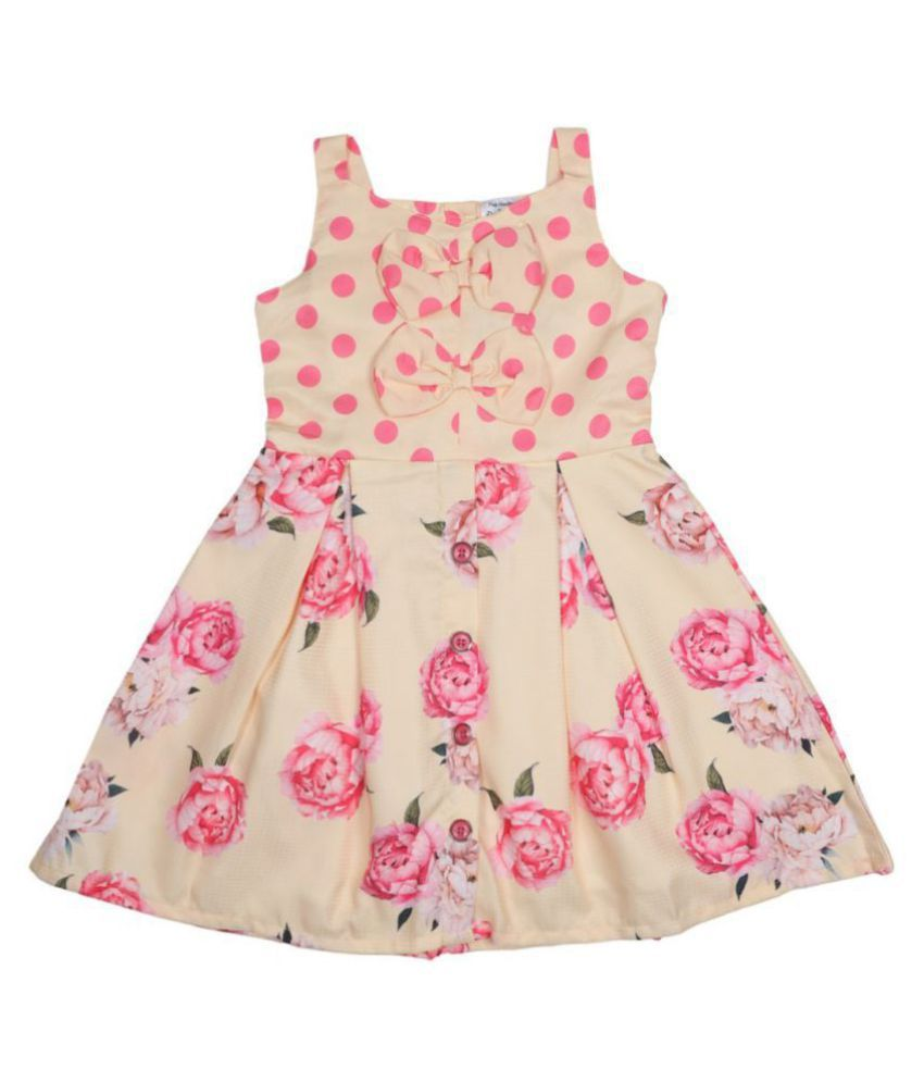 Doodle Yellow Color Sleeveless A-Line Dress for Girls