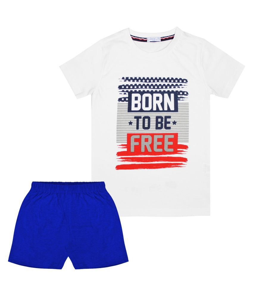 Luke and Lilly Boys Cotton Half Sleeve Multicolor Tshirt & Shorts Pack of 1