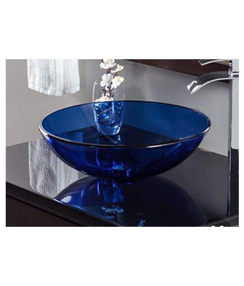ARVIND SANITARY Blue Toughened Glass Wall Hung Wash Basins