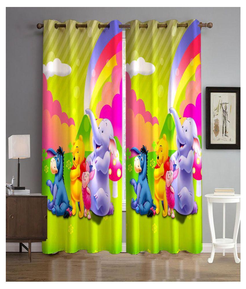 Koli trading co Set of 2 Door Semi-Transparent Eyelet Polyester Curtains Multi Color