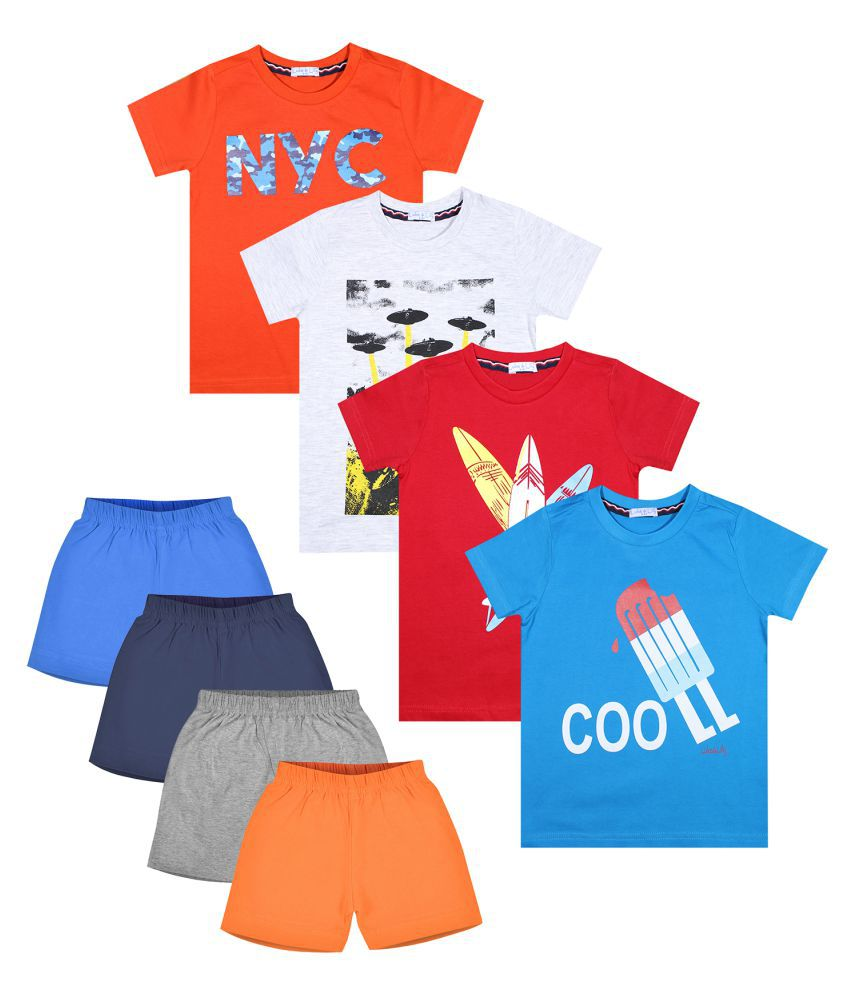 Luke and Lilly Boys Cotton Half Sleeve Multicolor Tshirt & Shorts Pack of 4