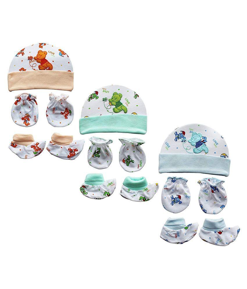 Baby Cap Mitten & Booty Set Of 3 Multicolor