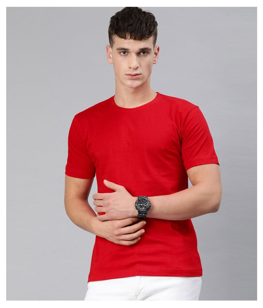 Be Awara 100 Percent Cotton Red Solids T-Shirt