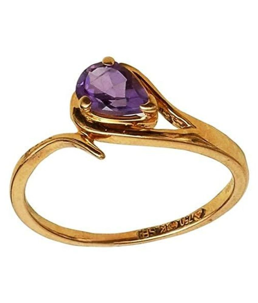 Beautiful Pear Shape Amethyst 18Kt Gold Ring