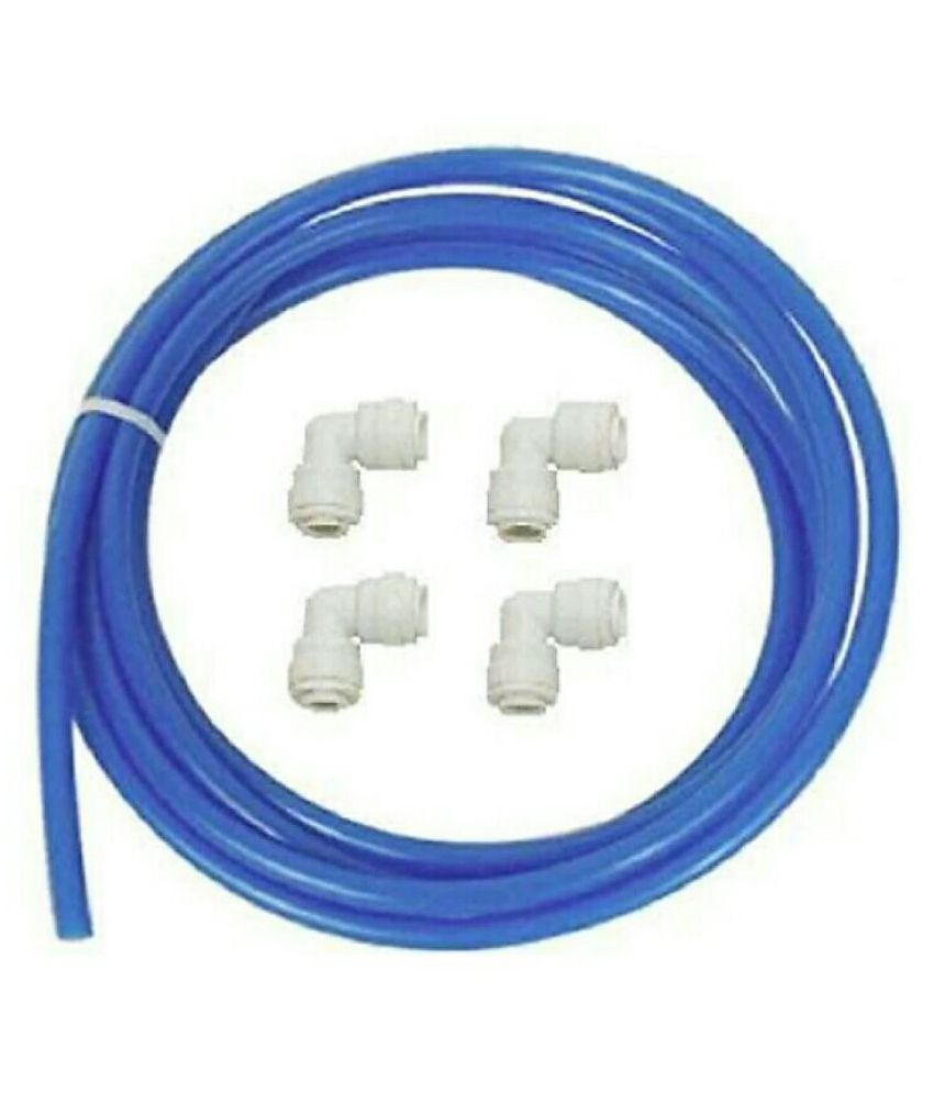 RO Flexible PIpe Tube 1/4 #034; 10 meter Blue + 1/4 QC X 14 QC Elbow 4 pcs. suited for all type of RO UV Water Purifier