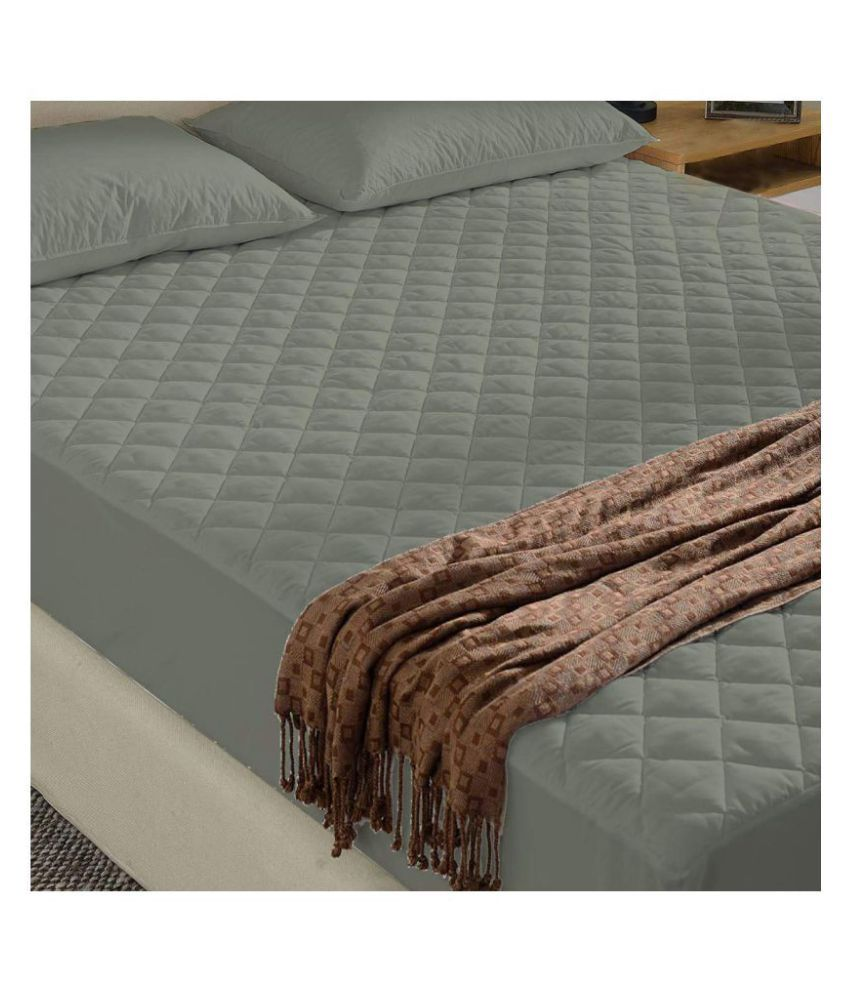 LoomStar Elastic Fitted King Grey Quilted Mattress Protector