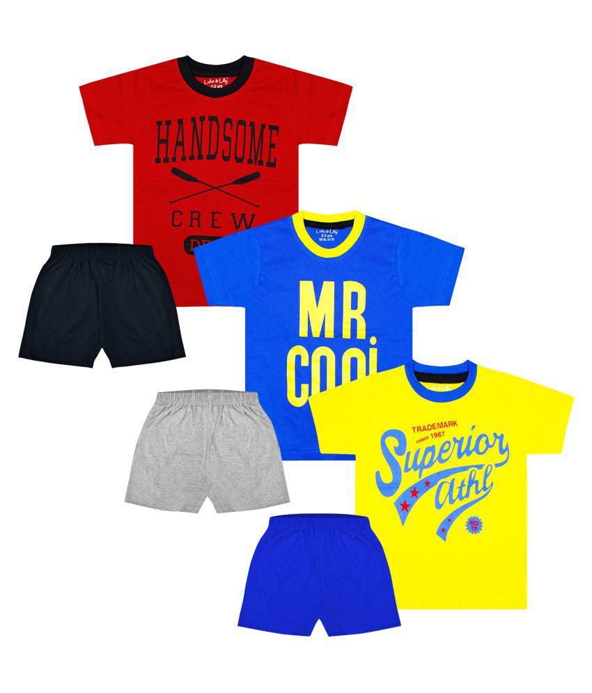 Luke and Lilly Boys Half Sleeve Cotton Printed Tshirt & Shorts_Pack of 3