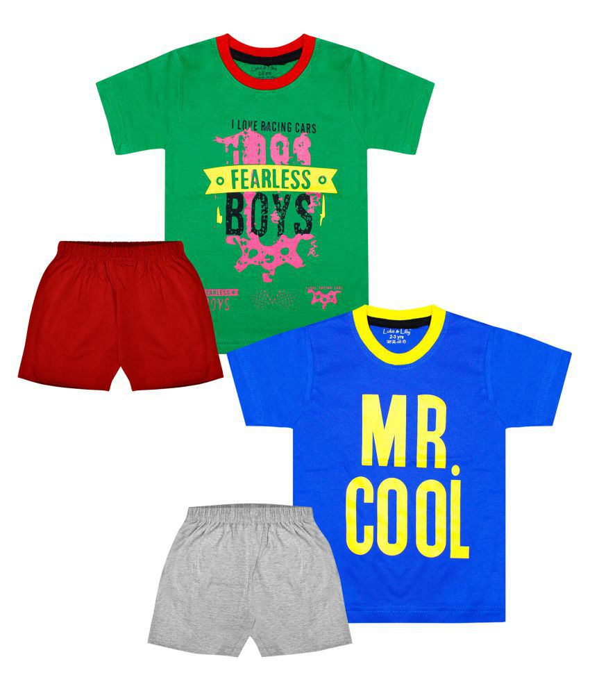 Luke and Lilly Boys Half Sleeve Cotton Printed Tshirt & Shorts_Pack of 2