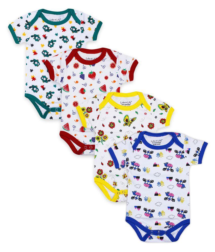 Luke and Lilly Baby Boys & Baby Girls Multicolor Bodysuit/Romper_Pack of 4
