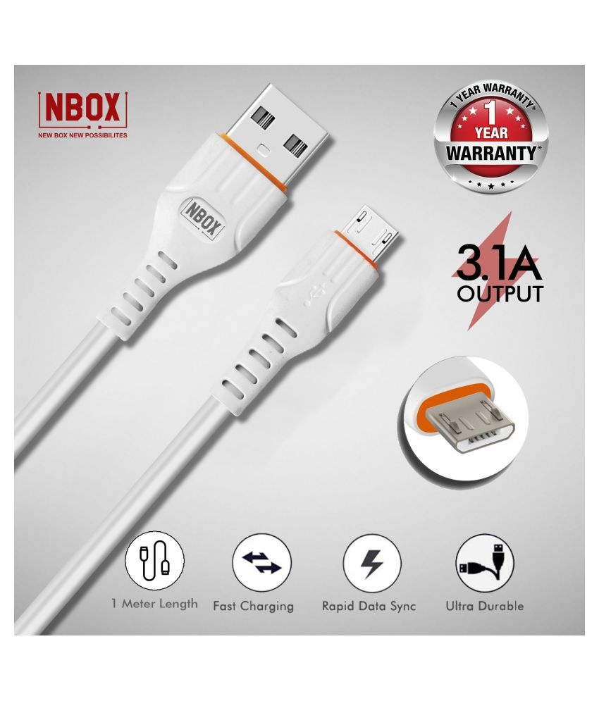 NBOX Fast Charging Micro USB Data Cable for Mi, Xiaomi, Redmi, Samsung, Oppo, Vivo & All Androids (1 Meter, White)