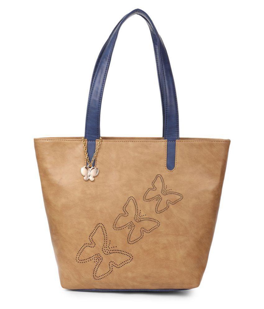 Butterflies Beige P.U. Handbags Accessories