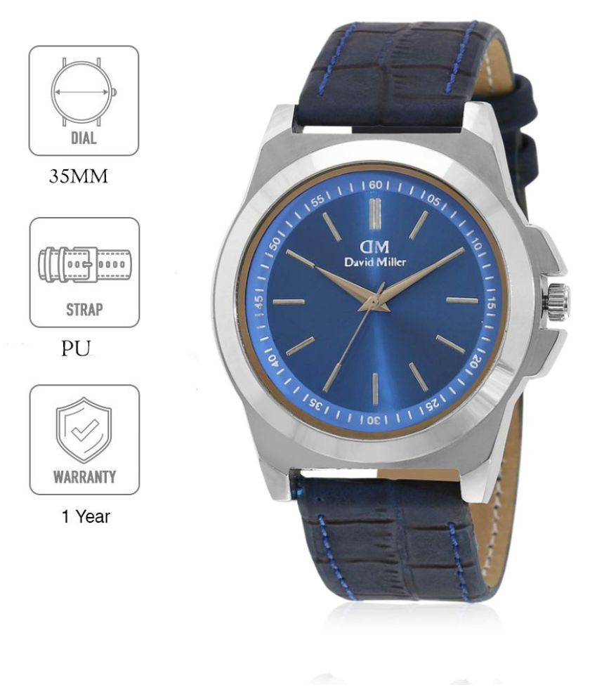 David Miller DMRCM228  Leather Analog Men's Watch