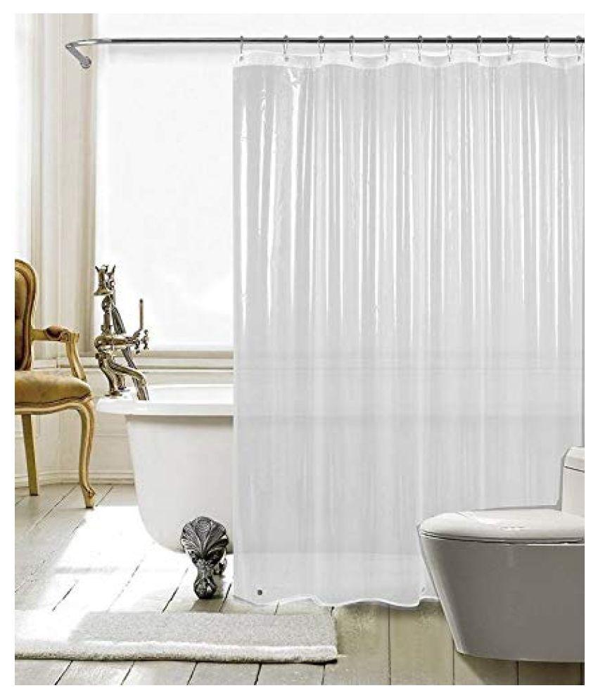 Fabfurn Single Door Transparent Ring Rod PVC AC Curtains White